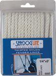 Sea-Dog Line 301106006WH-1 TWIST NYL FENDLINE 1/4X6WHT PR