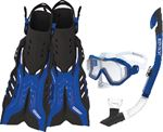 Body Glove Vests 17810PSETBLUBLKSM SNORKEL SET BLUE/BLACK S/M
