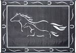Ming's Mark Inc GH8181 MAT-HORSES 8'X18' BLACK-WHITE