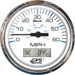 Faria 33829 GPS SPEEDO 80MPH CHES SS WHITE